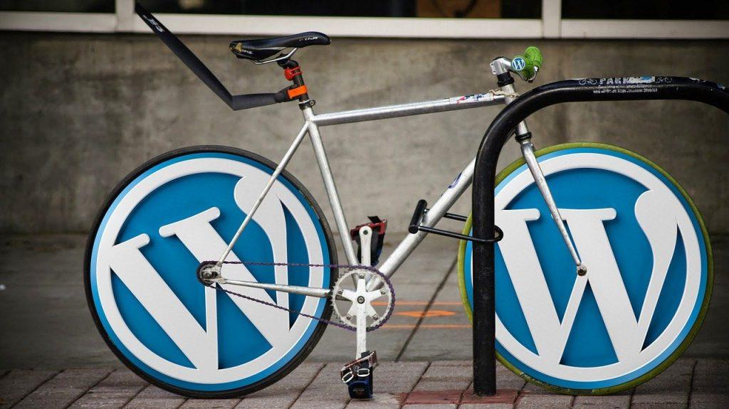 Wordpress logo on bicycle
